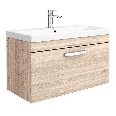Brooklyn 800 Natural Oak Wall Hung 1-Drawer Vanity Unit with Thin-Edge Basin