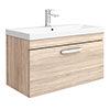 Brooklyn 800 Natural Oak Wall Hung 1-Drawer Vanity Unit with Thin-Edge Basin profile small image view 1