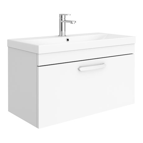 Brooklyn 800 Gloss White Wall Hung 1-Drawer Vanity Unit with Thin-Edge Basin