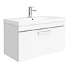 Brooklyn 800 Gloss White Wall Hung 1-Drawer Vanity Unit with Thin-Edge Basin profile small image view 1
