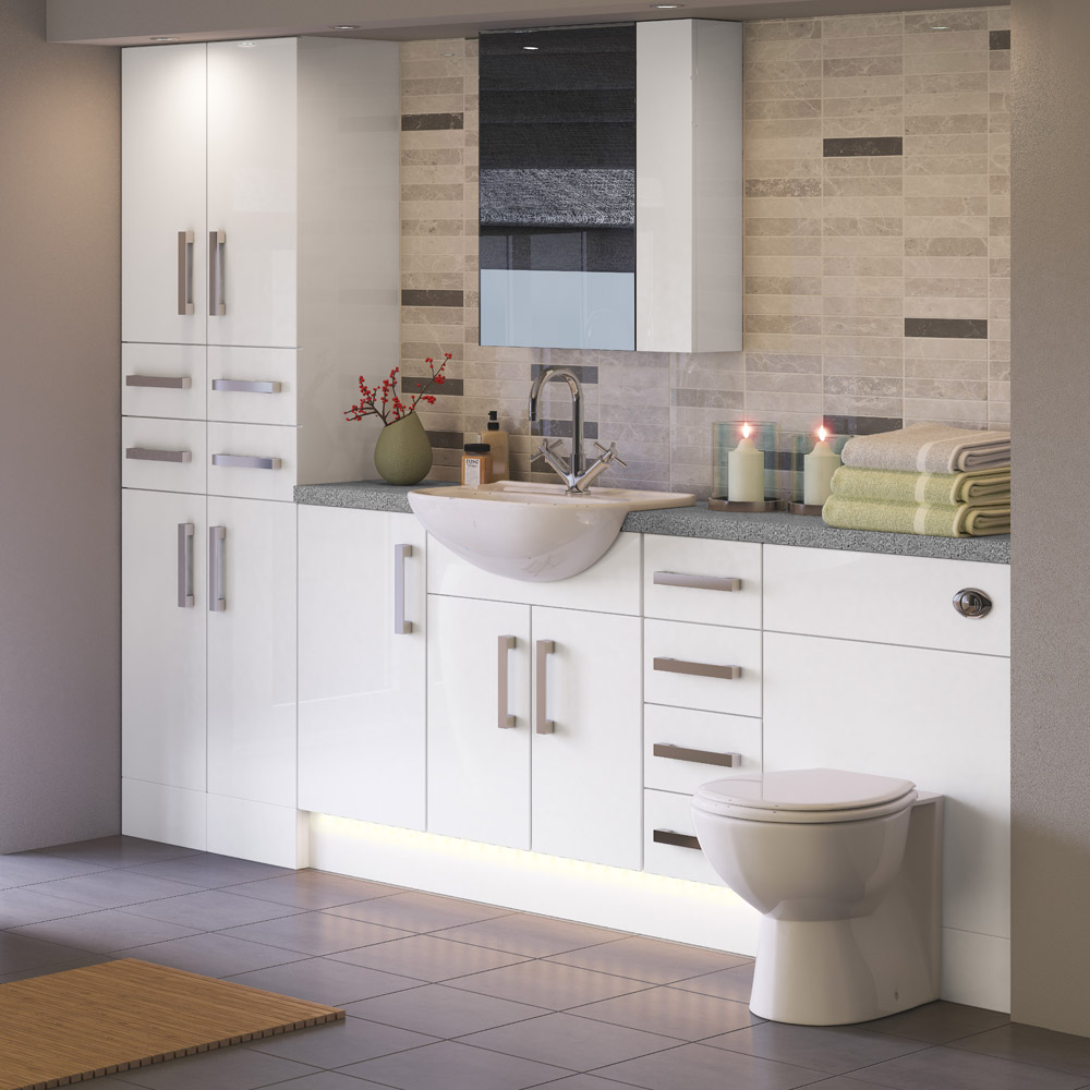 Balterley zahra 400mm vanity base cabinet white gloss for Bathroom cabinets 400mm high