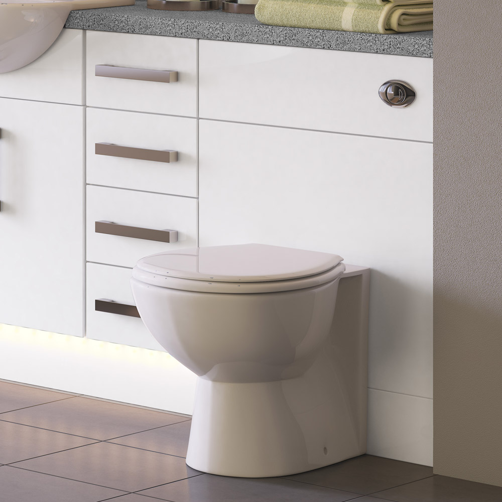 Balterley Zahra 500mm Cistern Base Cabinet - White Gloss profile large image view 2