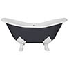 JIG Banburgh Small 2TH Cast Iron Roll Top Bath (1560x765mm) with Feet profile small image view 1
