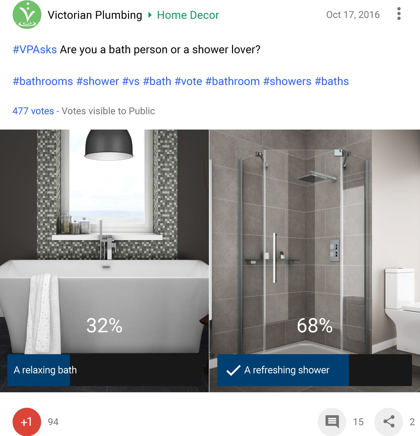 Bath vs Shower Poll - 2016 | Victorian Plumbing