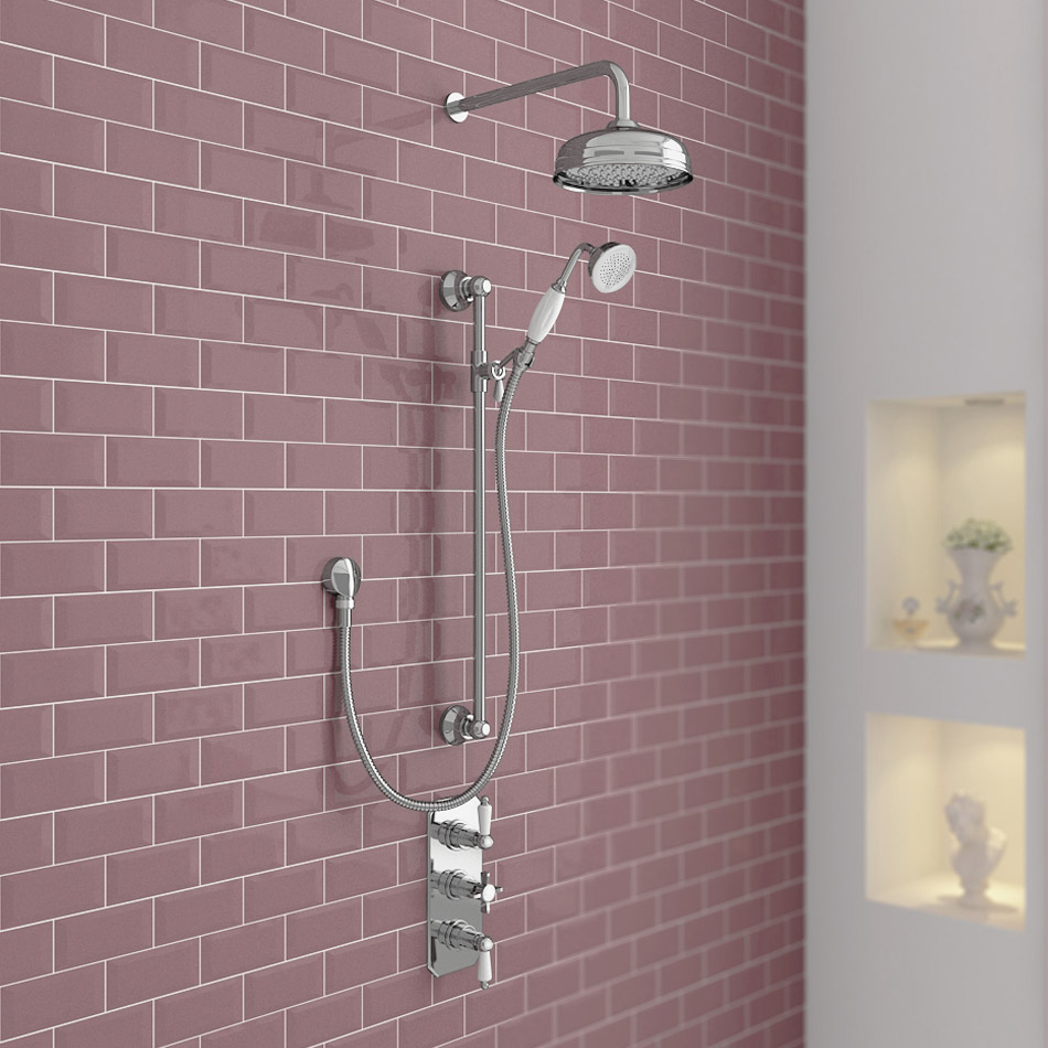 Belmont Traditional Shower Package - Concealed Valve with Fixed Head & Slider Kit profile large image view 1