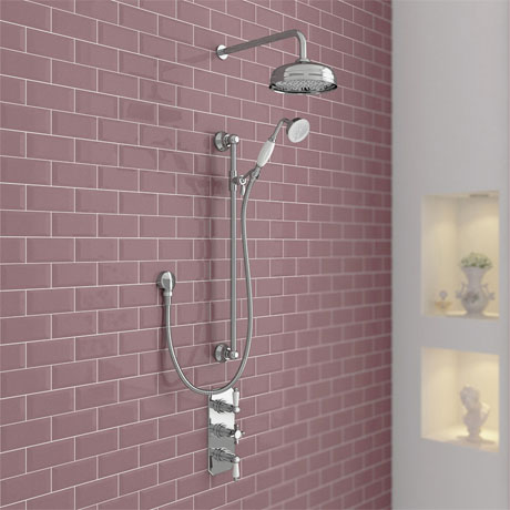 Belmont Traditional Shower Package - Concealed Valve with Fixed Head & Slider Kit