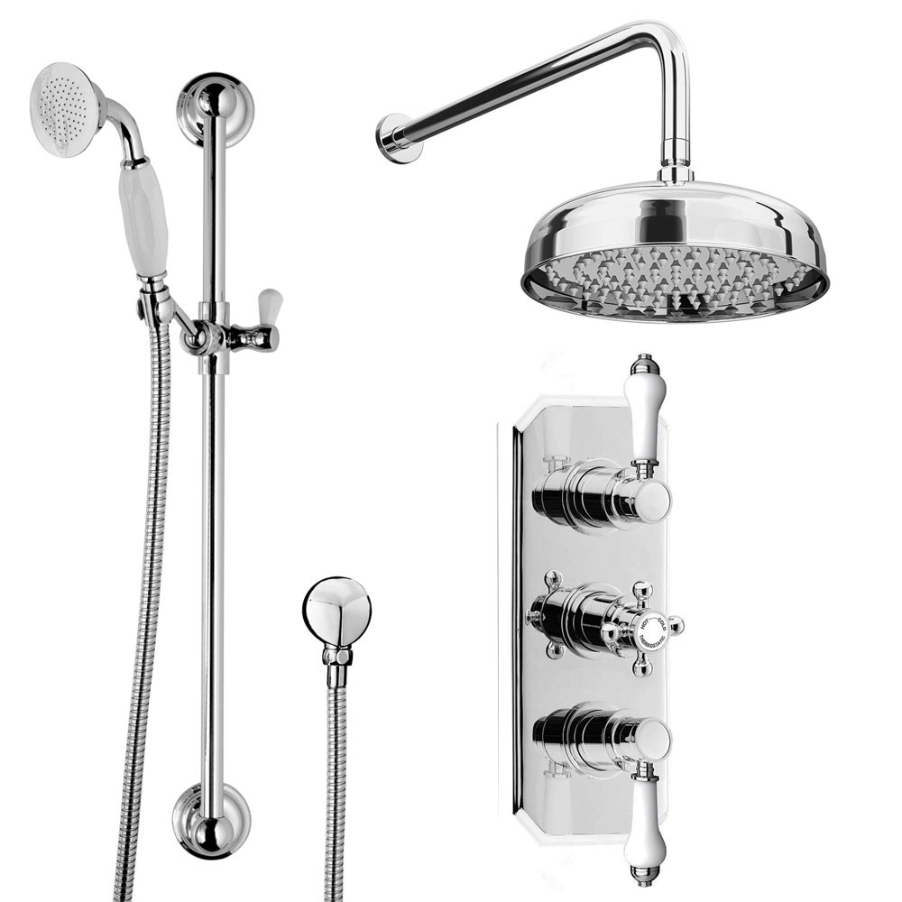 Belmont Traditional Shower Package - Concealed Valve with Fixed Head & Slider Kit profile large image view 2