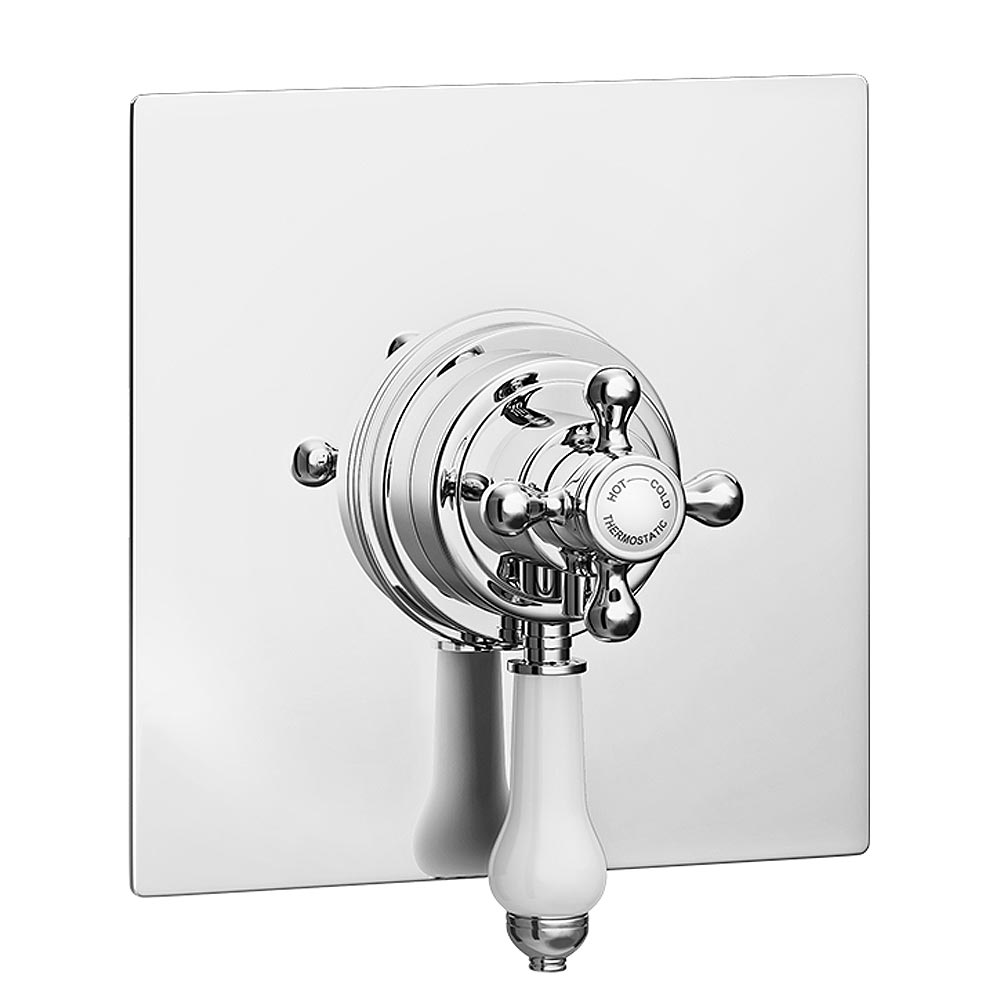Belmont Traditional Square Concealed Dual Thermostatic Shower Valve Large Image