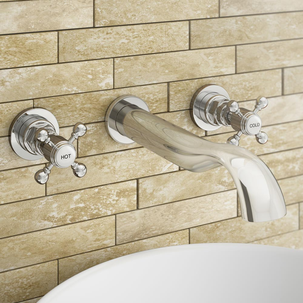 Belmont Traditional Wall Mounted Bath Filler - Chrome Profile Large Image