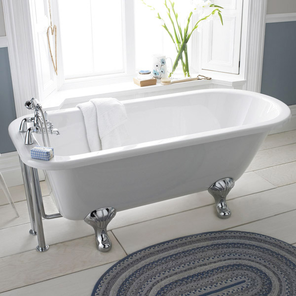 Premier Berkshire 1700 Single Ended Roll Top Bath Inc. Chrome Legs Large Image
