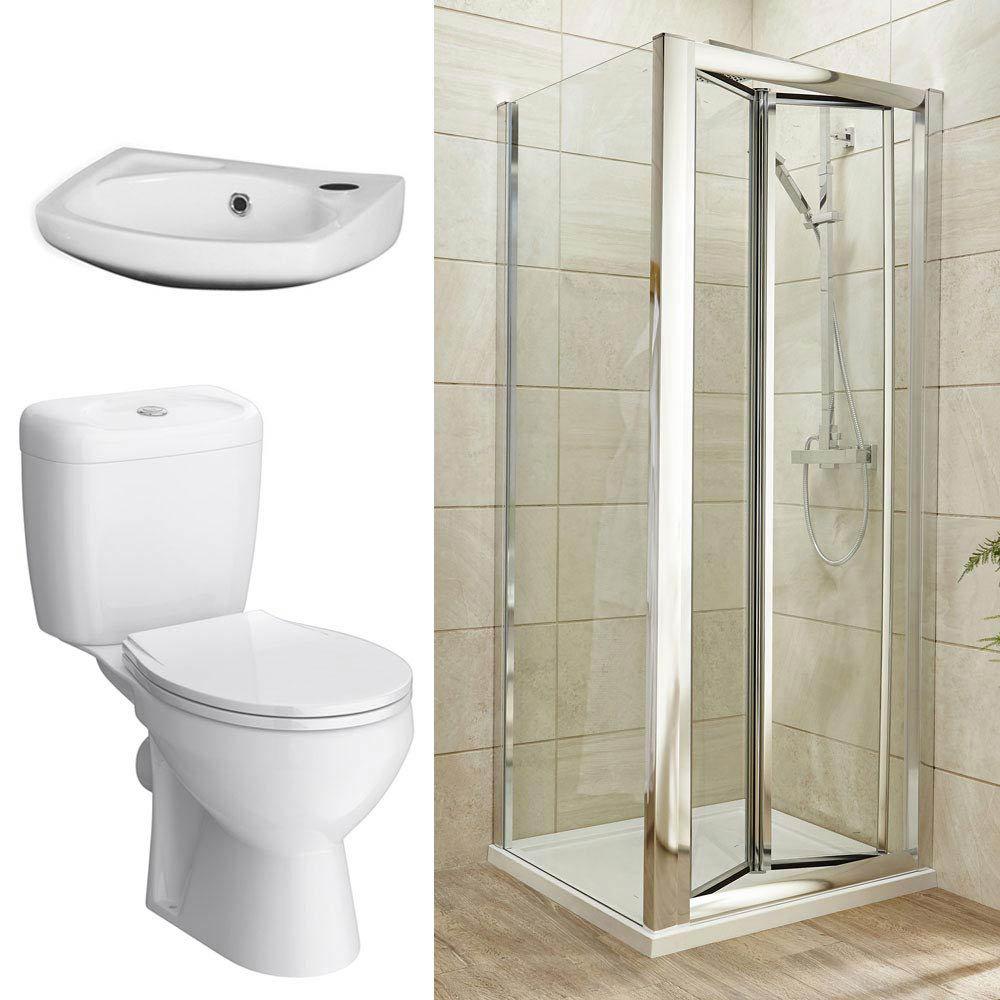Bi-Fold Shower Enclosure and En-Suite Set - 3 Size Options Large Image