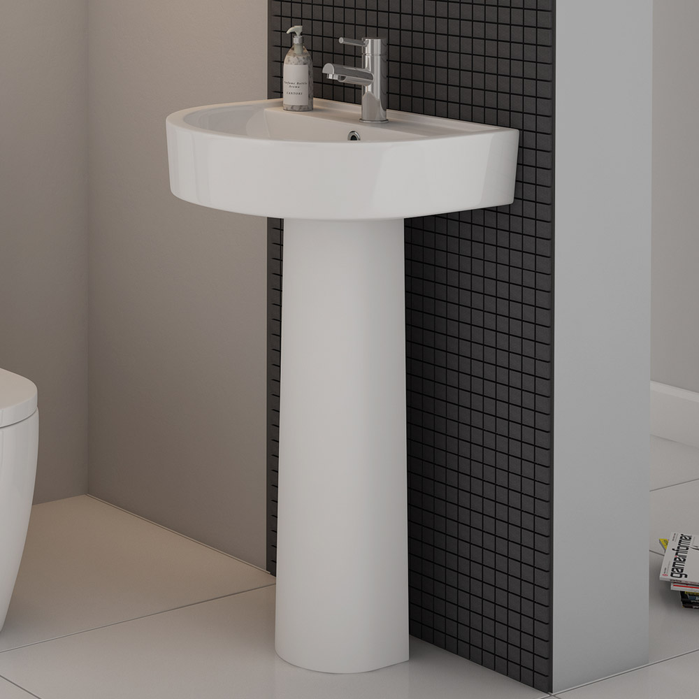 Marino 520mm Round Basin 1TH with Full Pedestal Profile Large Image