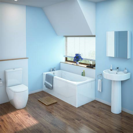 Bianco Bathroom Suite with Single Ended Bath - 3 Bath Size Options