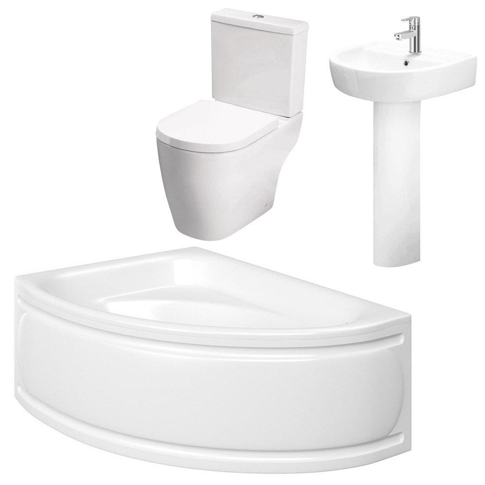 Bianco Bathroom Suite with Orlando Corner Bath profile large image view 4