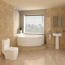 Bianco Bathroom Suite with Orlando Corner Bath Medium Image