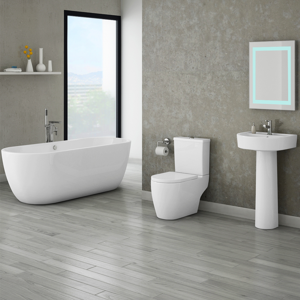 Bianco Double Ended Curved Freestanding Bath Suite At
