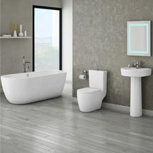 Bianco Double Ended Curved Freestanding Bath Suite Medium Image