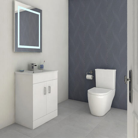 Bianco Gloss White Floorstanding Vanity Unit + Close Coupled Toilet