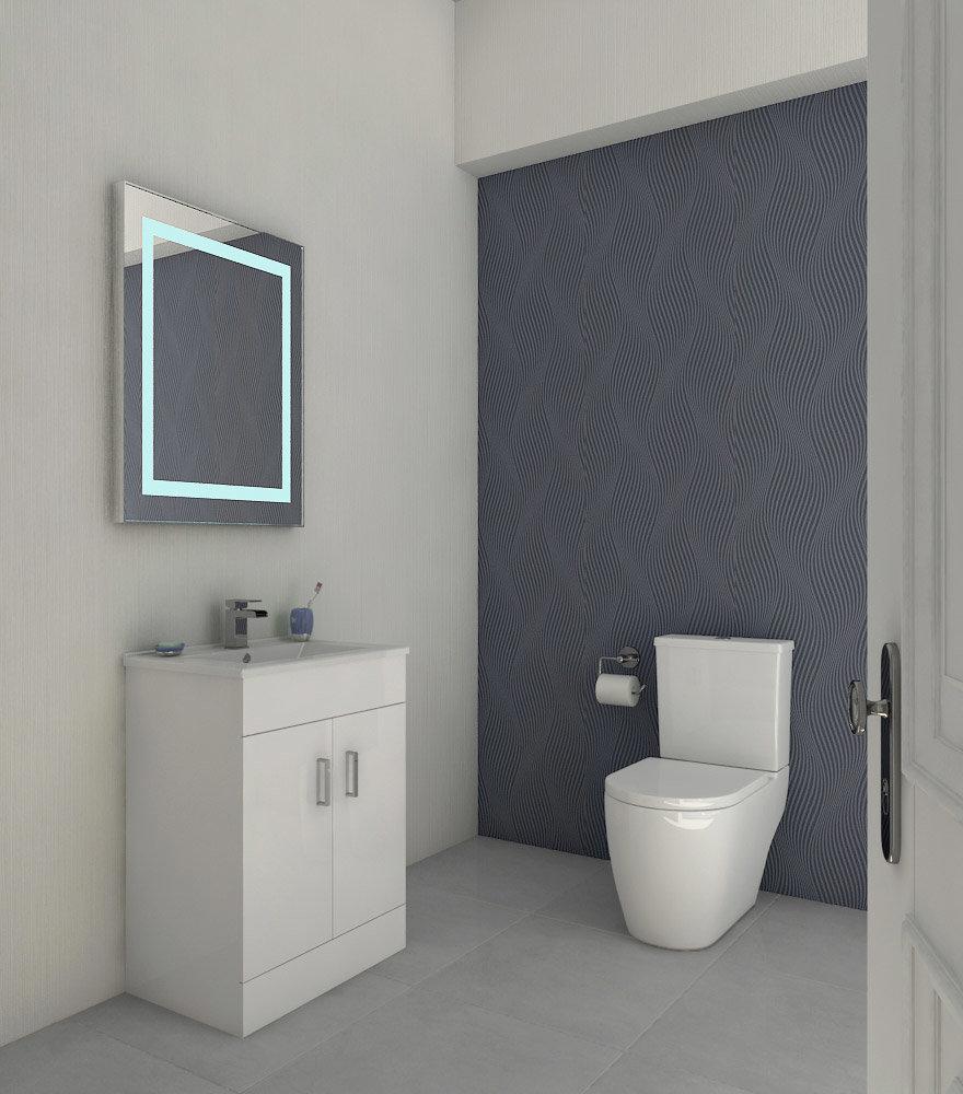 Bianco Gloss White Floorstanding Vanity Unit with Close Coupled Toilet Large Image