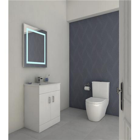 Bianco Gloss White Floorstanding Vanity Unit with Close Coupled Toilet