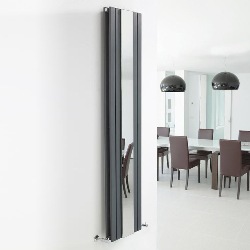 Bilbao Anthracite Double Panel Designer Radiator with Mirror (1800 x 381mm) profile large image view 2