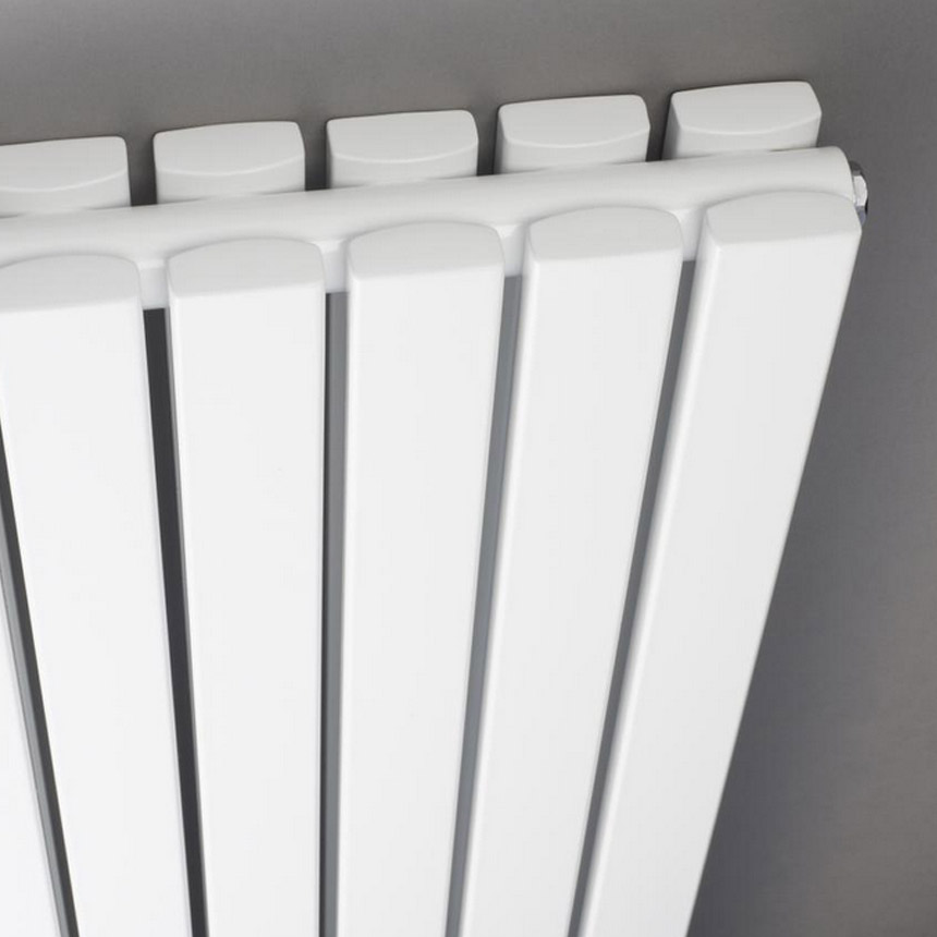 Bilbao White Double Panel Designer Radiator with Mirror (1800 x 381mm) profile large image view 2