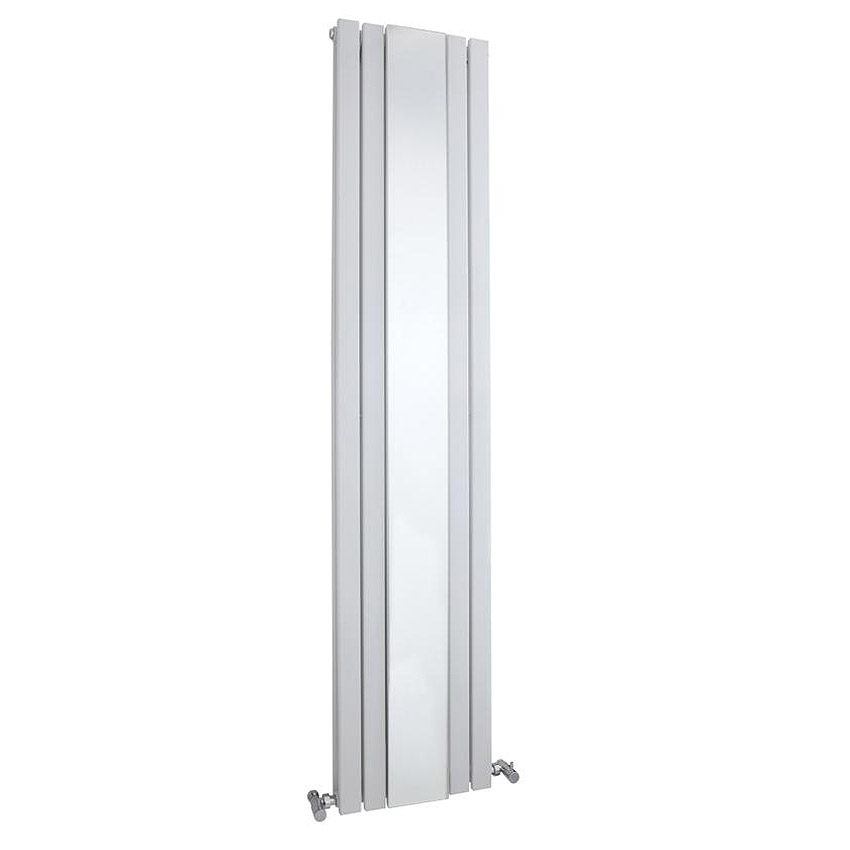Bilbao White Double Panel Designer Radiator with Mirror (1800 x 381mm) profile large image view 1