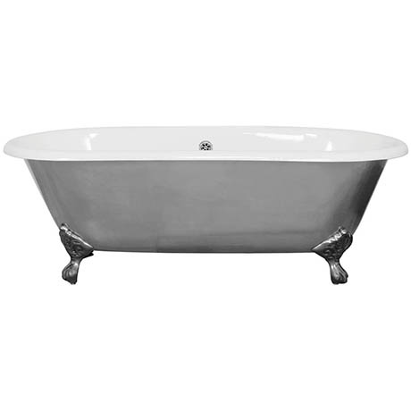 JIG Bisley Fully Polished Cast Iron Roll Top Bath (1690x750mm) with Feet