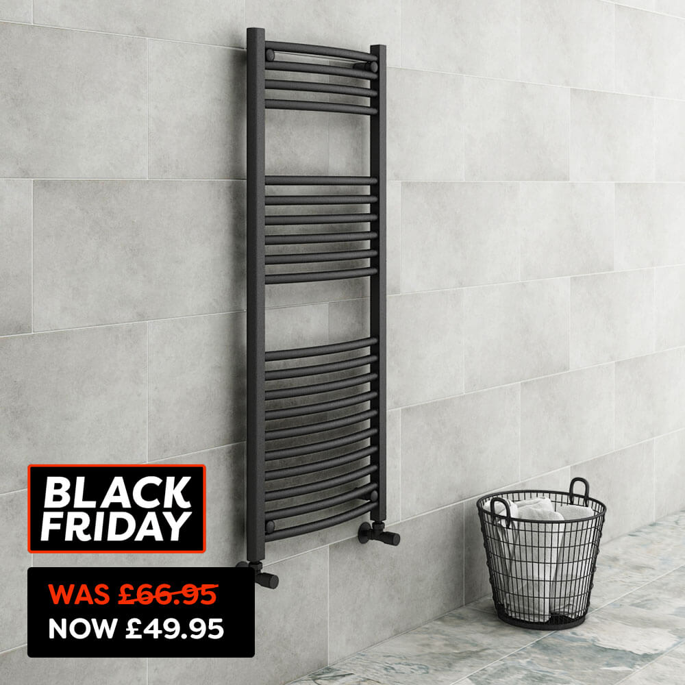 Diamond Curved Heated Towel Rail - W500 x H1200mm - Anthracite