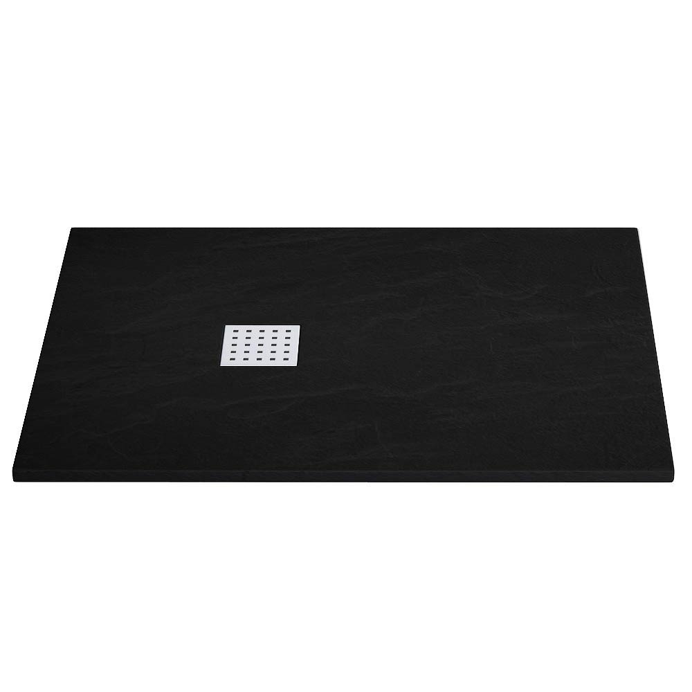 Imperia Black Slate Effect Rectangular Shower Tray 1200 x 800mm Inc. Chrome Waste profile large image view 1