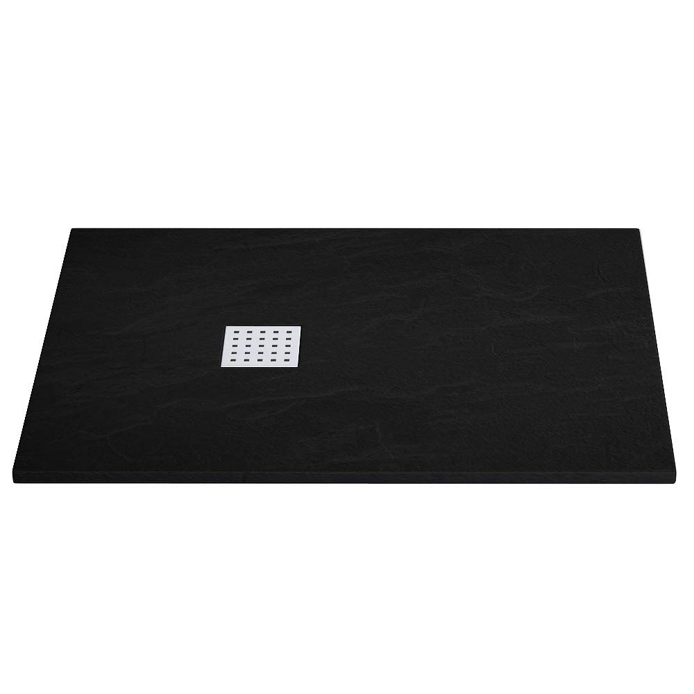 Imperia Black Slate Effect Rectangular Shower Tray 1200 x 900mm Inc. Chrome Waste Large Image