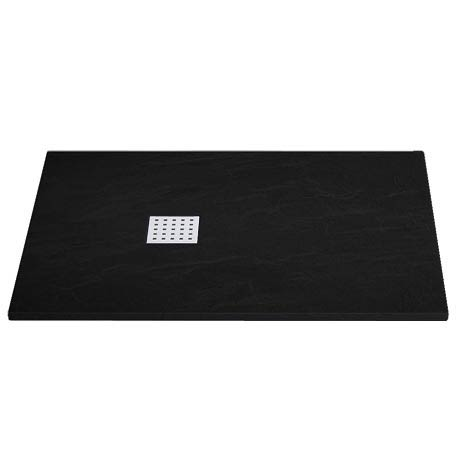 Imperia Black Slate Effect Rectangular Shower Tray 1200 x 900mm Inc. Chrome Waste