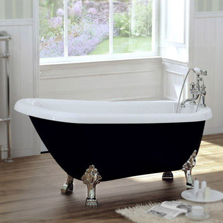 Black Traditional 1540 x 700 Luxury Freestanding Slipper Bath with Chrome Lion Feet