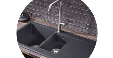 Black Kitchen Sink with Chrome Taps