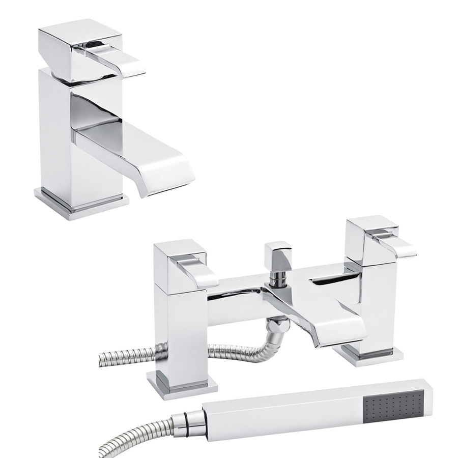 Ultra Blake Waterfall Basin + Bath Shower Mixer - Chrome Large Image