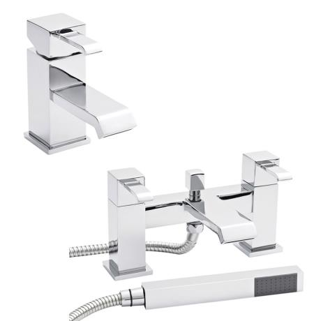 Ultra Blake Waterfall Basin + Bath Shower Mixer - Chrome