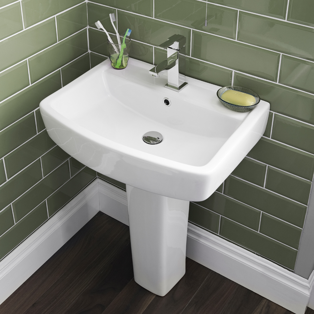 Bliss 4 Piece Bathroom Suite - CC Toilet & 1TH Basin with Pedestal - 2 x Basin Size and Seat Options Standard Large Image