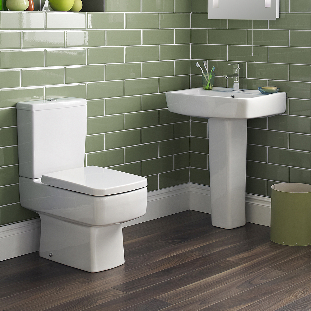 Bliss 4 Piece Bathroom Suite - CC Toilet & 1TH Basin with Pedestal - 2 x Basin Size and Seat Options Large Image