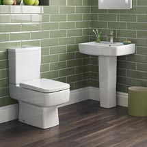 Bliss 4 Piece Bathroom Suite - CC Toilet & 1TH Basin with Pedestal - 2 x Basin Size and Seat Options Medium Image