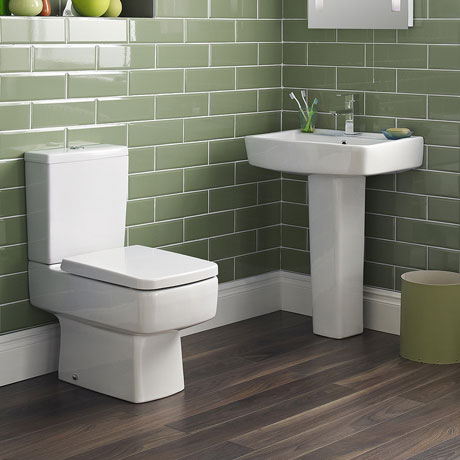 Bliss 4 Piece Bathroom Suite - CC Toilet & 1TH Basin with Pedestal - 2 x Basin Size and Seat Options