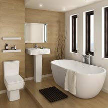 Bliss Modern Double Ended Curved Freestanding Bath Suite - 2 Basin Size Options Medium Image
