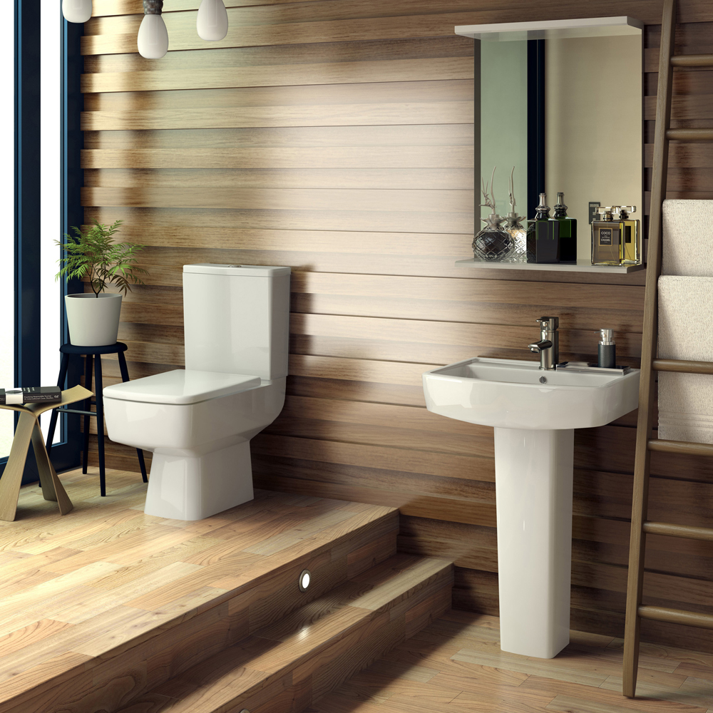 Bliss Modern Square Basin & Pedestal - 1 Tap Hole - 2 x Size Options Profile Large Image