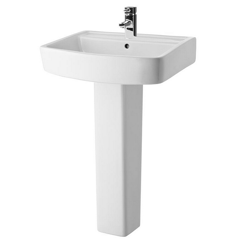 Bliss Modern Square Basin & Pedestal - 1 Tap Hole - 2 x Size Options Large Image