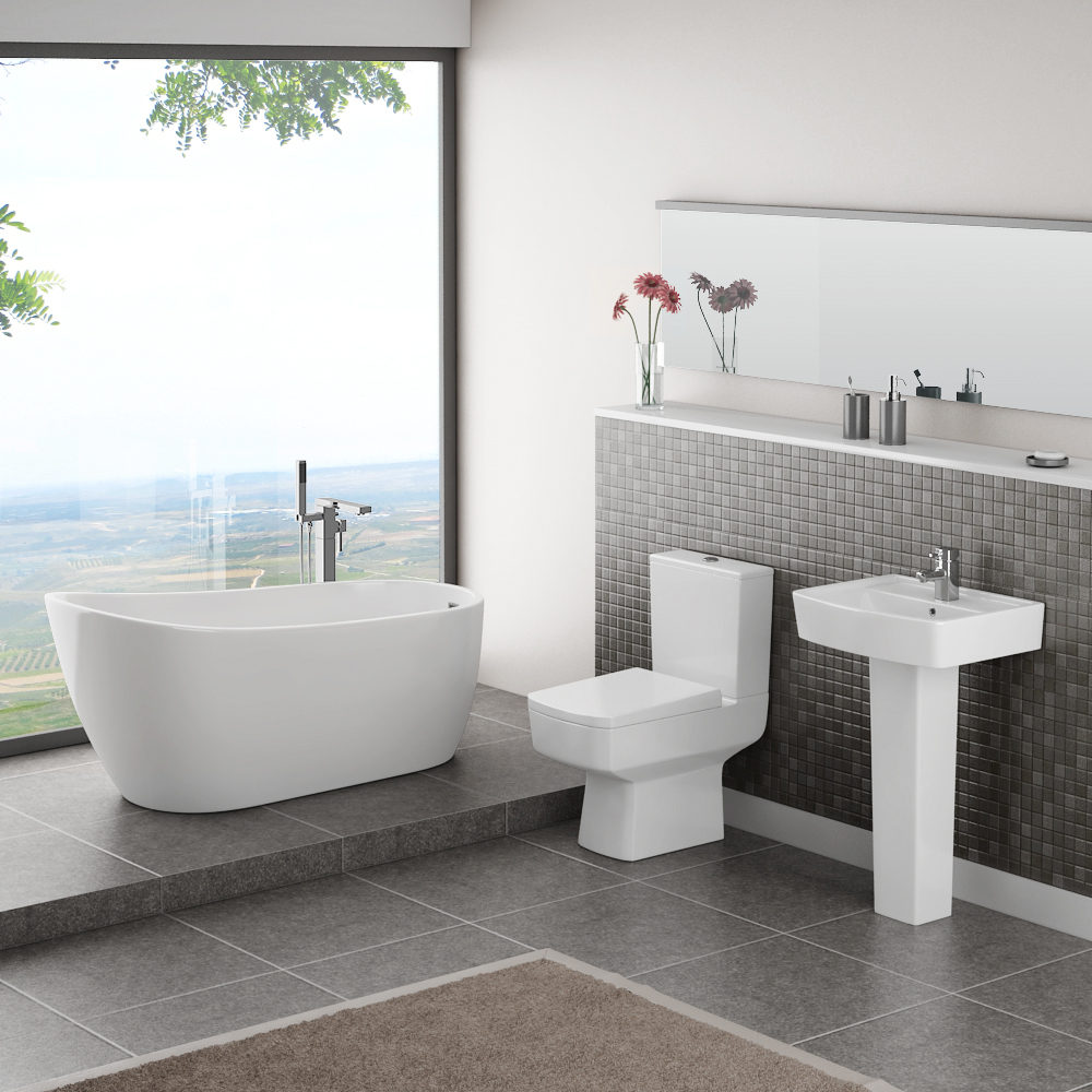 Bliss Modern Slipper Freestanding Bath Suite - 2 Basin Size Options Large Image