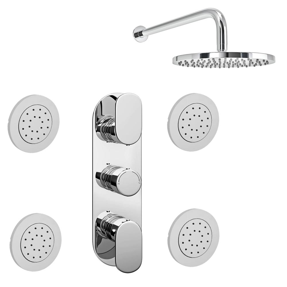 Bosa Concealed Thermostatic Valve with Fixed Shower Head & 4 Tile Body Jets Large Image
