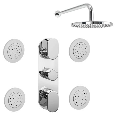 Bosa Concealed Thermostatic Valve with Fixed Shower Head & 4 Tile Body Jets
