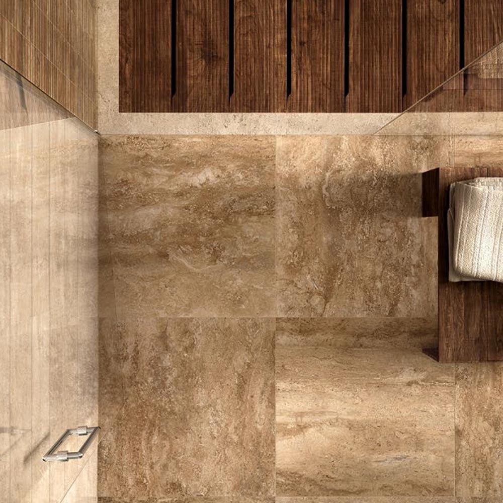 Bosa Marbled Brown Floor Tile (Matt - 450 x 450mm) Feature Large Image