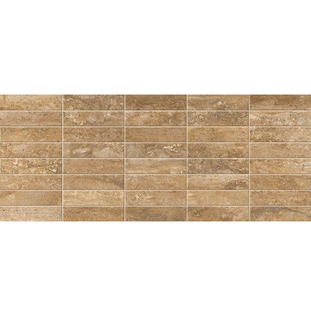 Bosa Marbled Brown Mosaic Wall Tile (Gloss - 200 x 500mm) Large Image