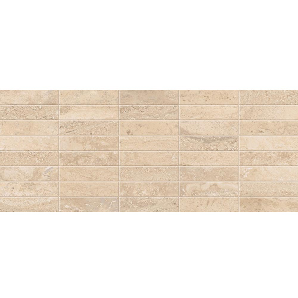 Bosa Marbled Cream Mosaic Wall Tile (Gloss - 200 x 500mm) Large Image