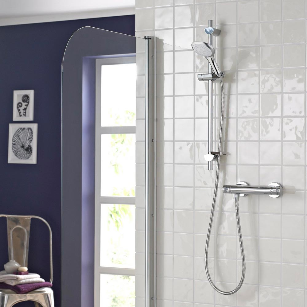 Bristan Artisan Thermostatic Surface Mounted Bar Shower Valve + Adjustable Riser profile large image view 3